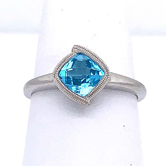 Mountz Collection Blue Topaz Ring in 14K White Gold