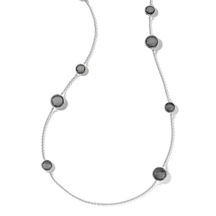 "Ippolita 40"" Hematite Doublet Station ""Wonderland"" Multi RD Stone Necklace in Sterling Silver"