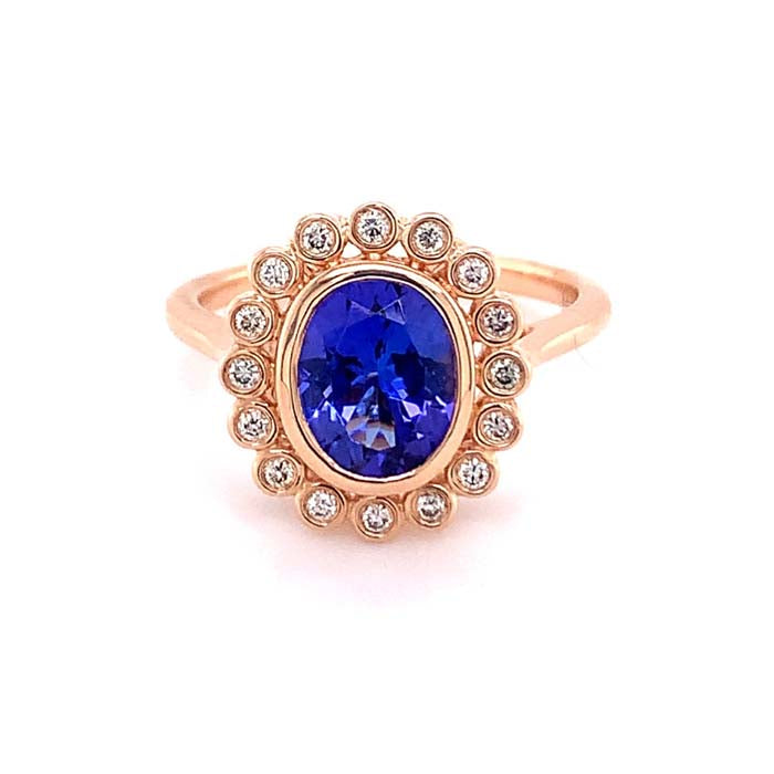 Le Vian 1.71CT Oval Tanzanite Bezel Set Ring with .15CTW Nude Diamond Halo in 14K Strawberry (Rose) Gold