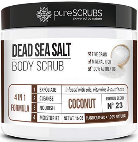 pureSCRUBS Premium Organic Body Scrub Set - Large 16oz COCONUT BODY SCRUB - Dead Sea Salt Infused Organic Essential Oils & Nutrients