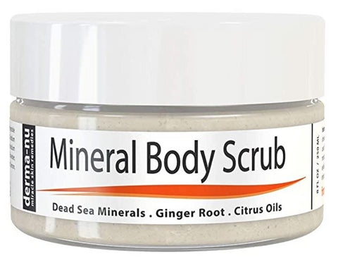 Dead Sea Salt Scrub By Derma-nu - Exfoliate Face, Body & Hands - Body Scrub Cleanses, Detoxifies and Mineralizes - Leaves Skin Soft and Smooth (4 oz)