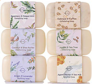 O Naturals 6 Piece Moisturizing Body Wash Bar Soap Collection. 100% Natural Made w/Organic Ingredients & Therapeutic Essential Oils. Face & Hands. Vegan Triple Milled. Gift Set.