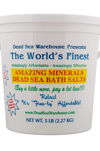 Dead Sea Warehouse - Amazing Minerals Dead Sea Bath Salts, 100% Dead Sea Bath Salts, Moisturizes & May Temporarily Relieve Aches & Pains, For All Skin Types, Especially Dry Skin, Unscented (5 lbs)
