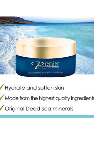Premier Dead Sea Aromatic Body Butter- Milk and Honey, minerals, anti aging, firming, skin tone, age spots, Neck & Decollete, Lightweight, and Long-Lasting Nourishment, silky, non tacky 5.95 Fl.oz