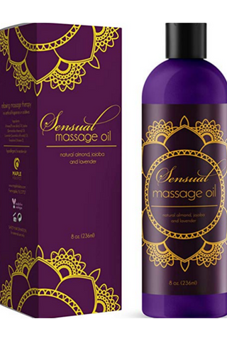 Sensual Massage Oil with Relaxing Lavender Almond Oil and Jojoba for Men and Women – 100% Natural Hypoallergenic Skin