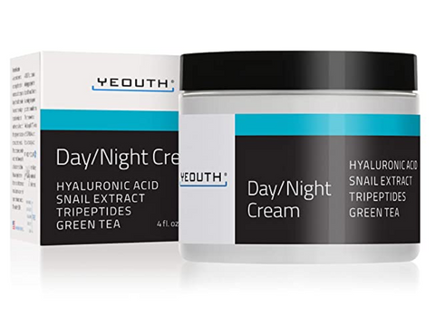 YEOUTH Day Night Moisturizer for Face with Snail Extract, Hyaluronic Acid, Green Tea, and Peptides, Anti Aging Day Cream or Night Cream Moisturizer for Dry Skin, (2oz)