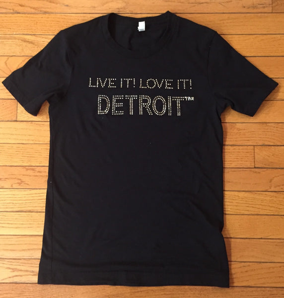 LIVE IT LOVE IT Detroit Bling Tee with Detroit in Regular Design (Unisex Sizes)