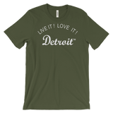 LIVE IT LOVE IT Detroit Unisex Tee with white letters