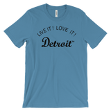 LIVE IT LOVE IT Detroit Unisex Tee with black letters
