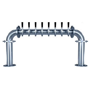 "Biergarten ""U"" - 8 304 Faucets - Polished Stainless Steel - Glycol Cooled"
