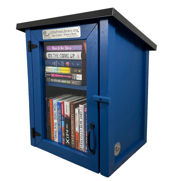 Two Story Shed Blue Little Free Library