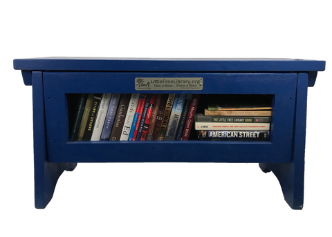Book Sharing Bench Blue with Custom Sign