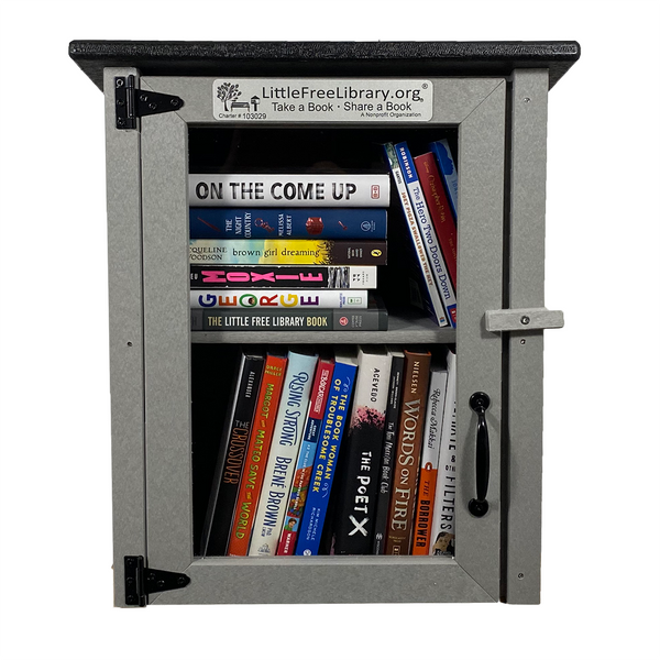 Composite Two Story Gray Little Free Library