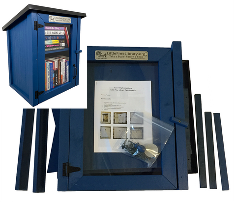Two Story Shed Blue Kit Little Free Library