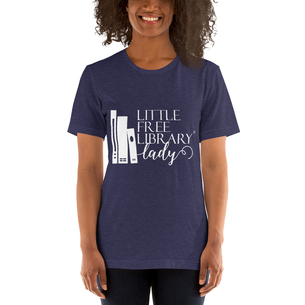 Little Free Library Lady Navy Shirt