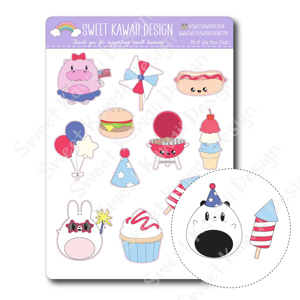 Kawaii 4th of July Deco (Large) Stickers