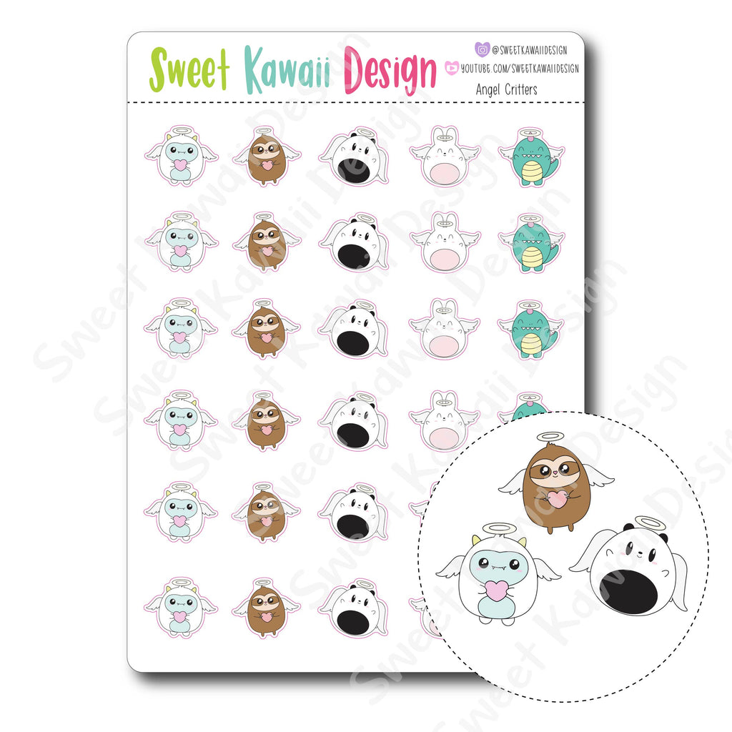 Kawaii Angel Critter Stickers