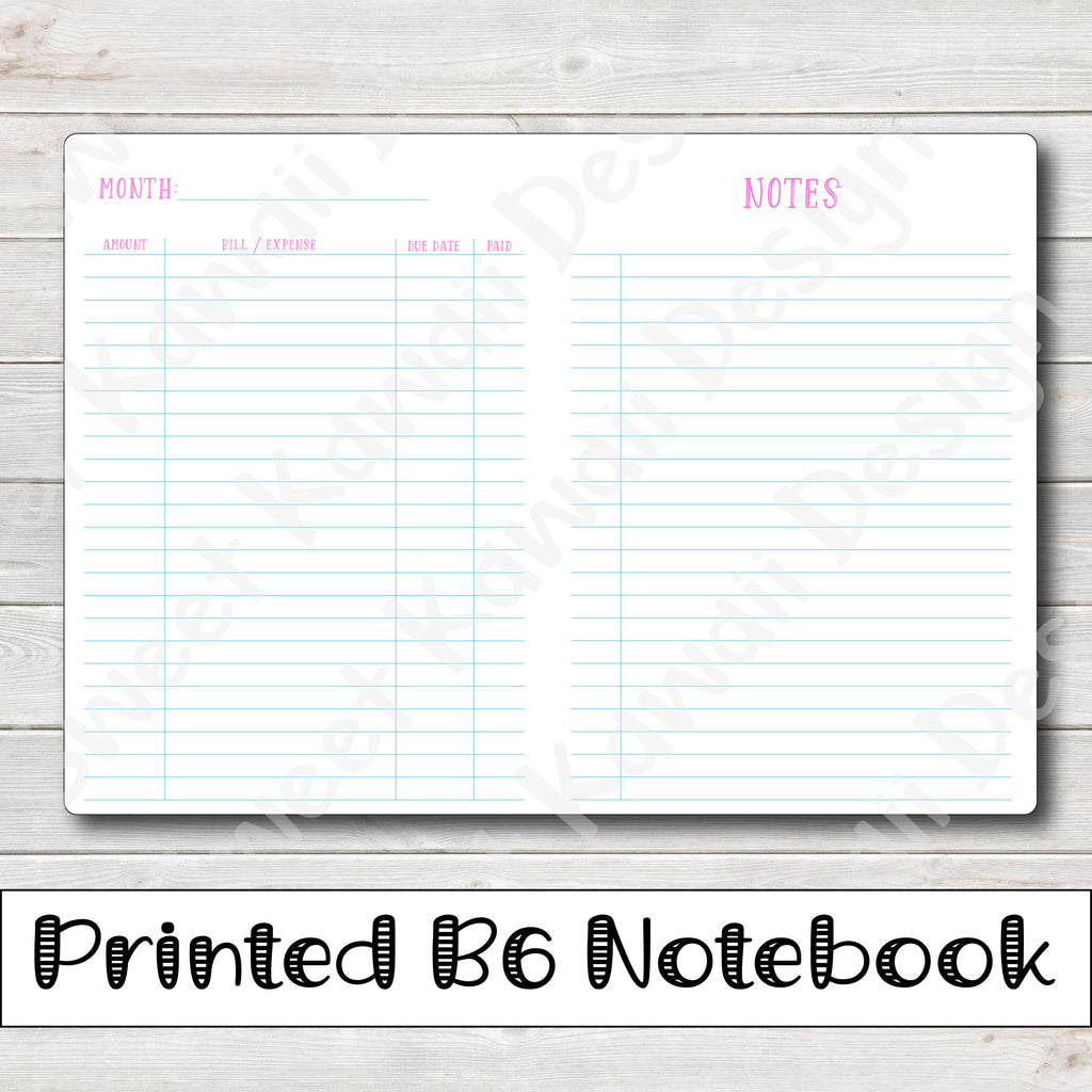 B6 - Budget Travelers Notebook Insert  (5x7)