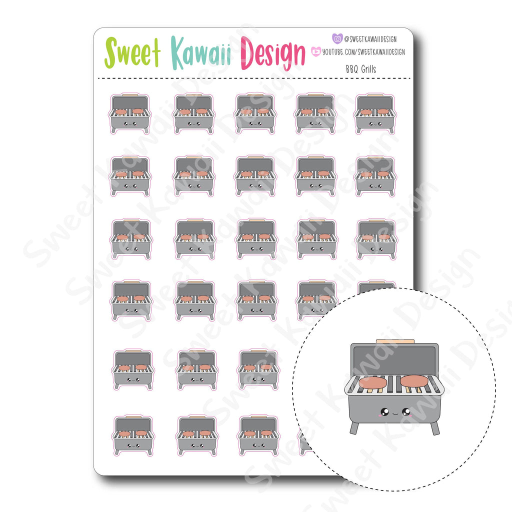 Kawaii BBQ Grill Stickers