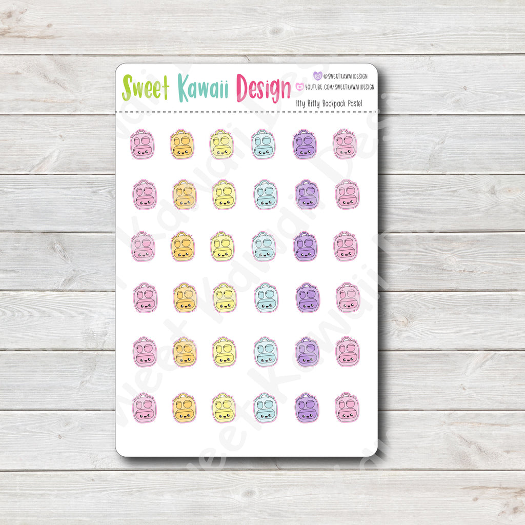 Kawaii Backpack Stickers - Pastel