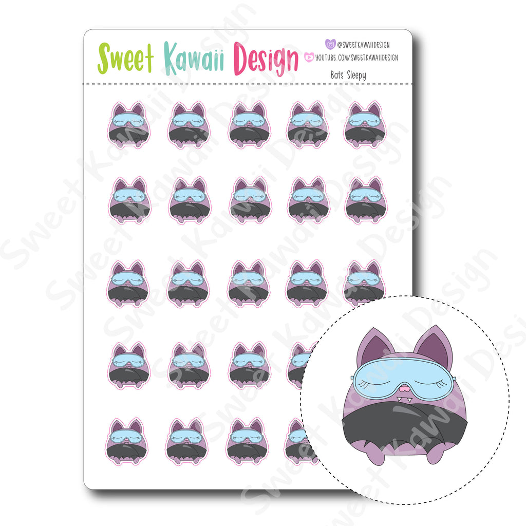 Kawaii Bat Stickers - Sleepy
