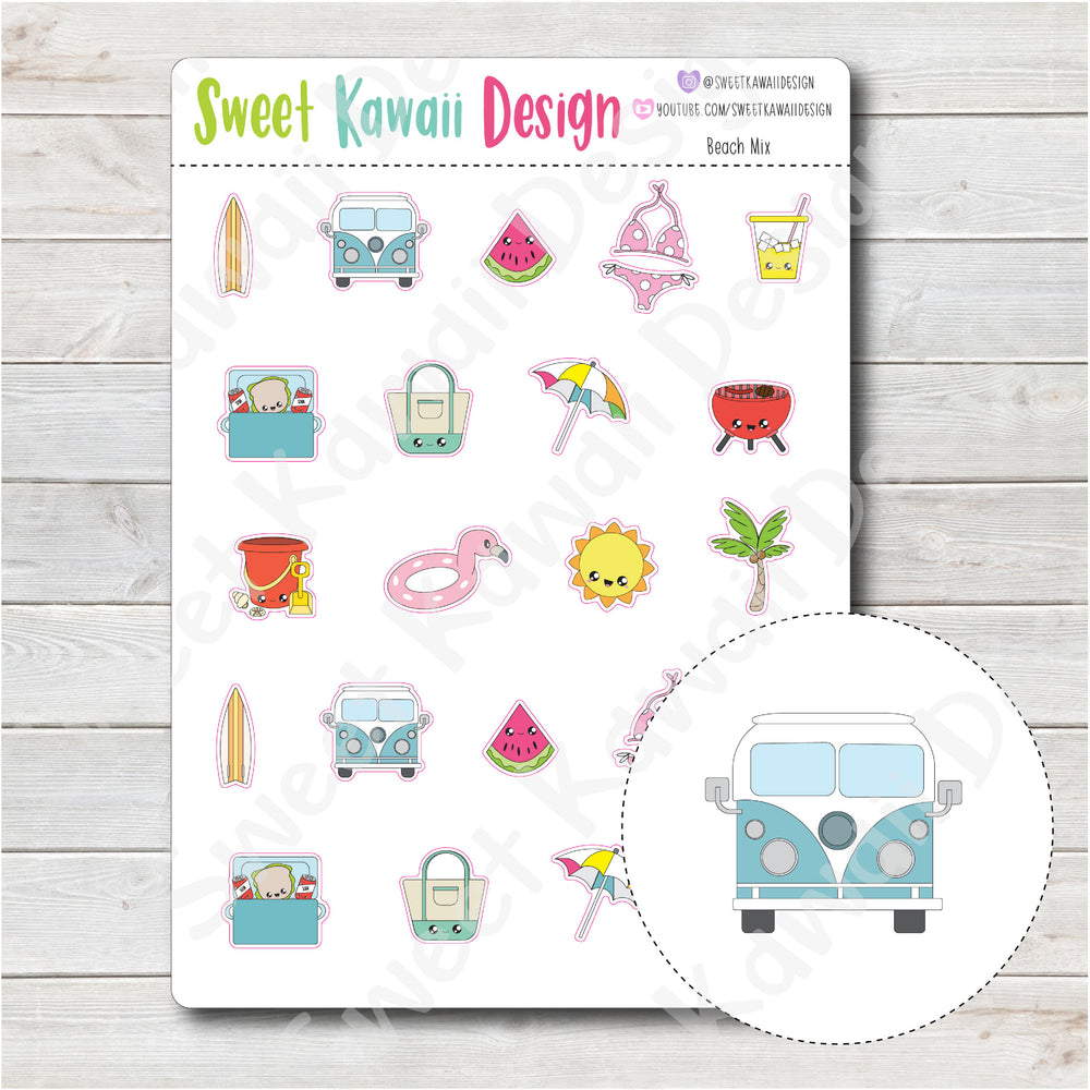 Kawaii Beach Stickers