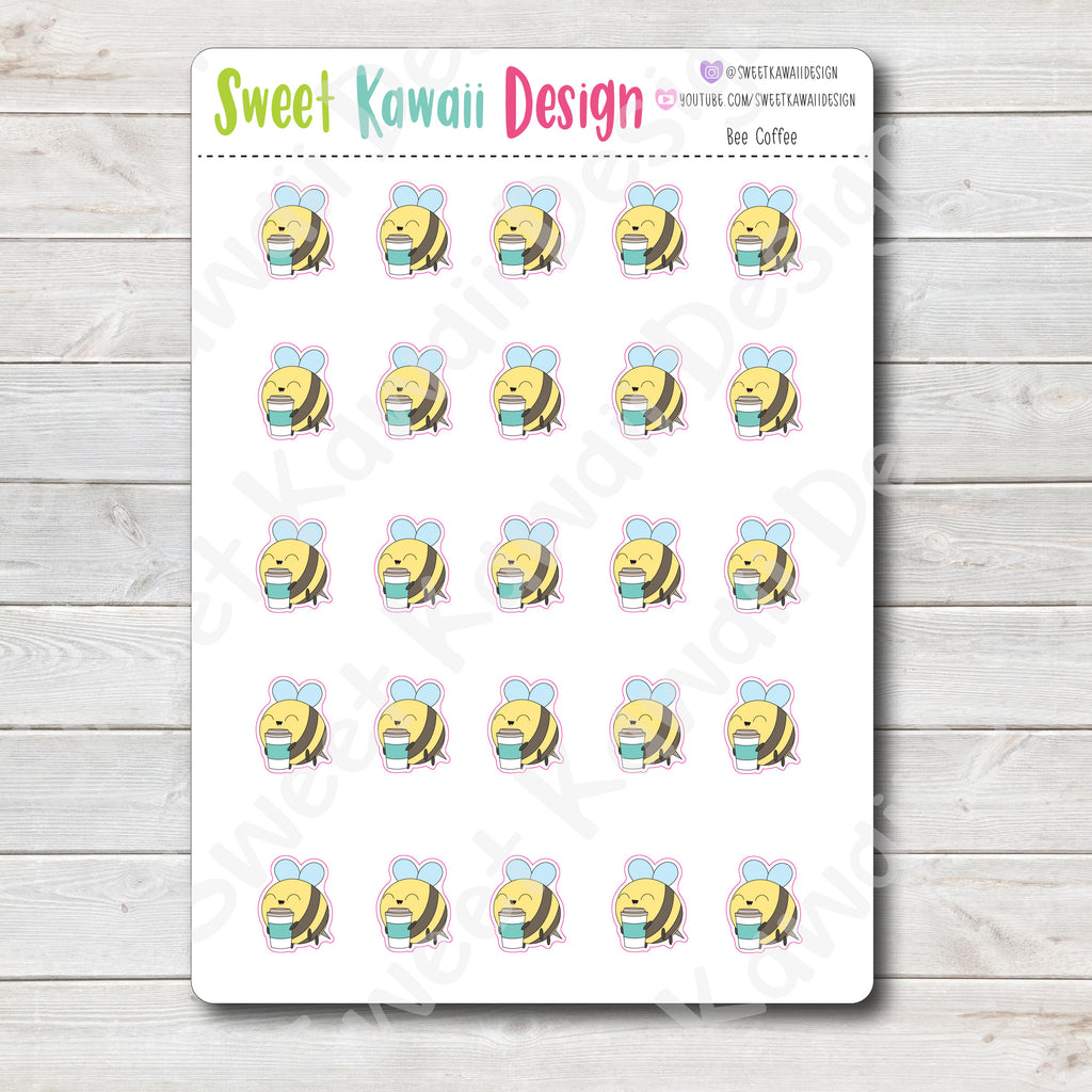 Kawaii Bee Stickers - Coffee