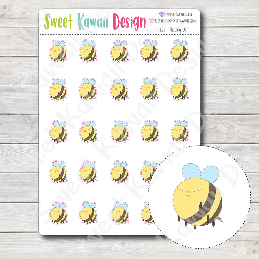 Kawaii Bee Stickers - Flipping Off