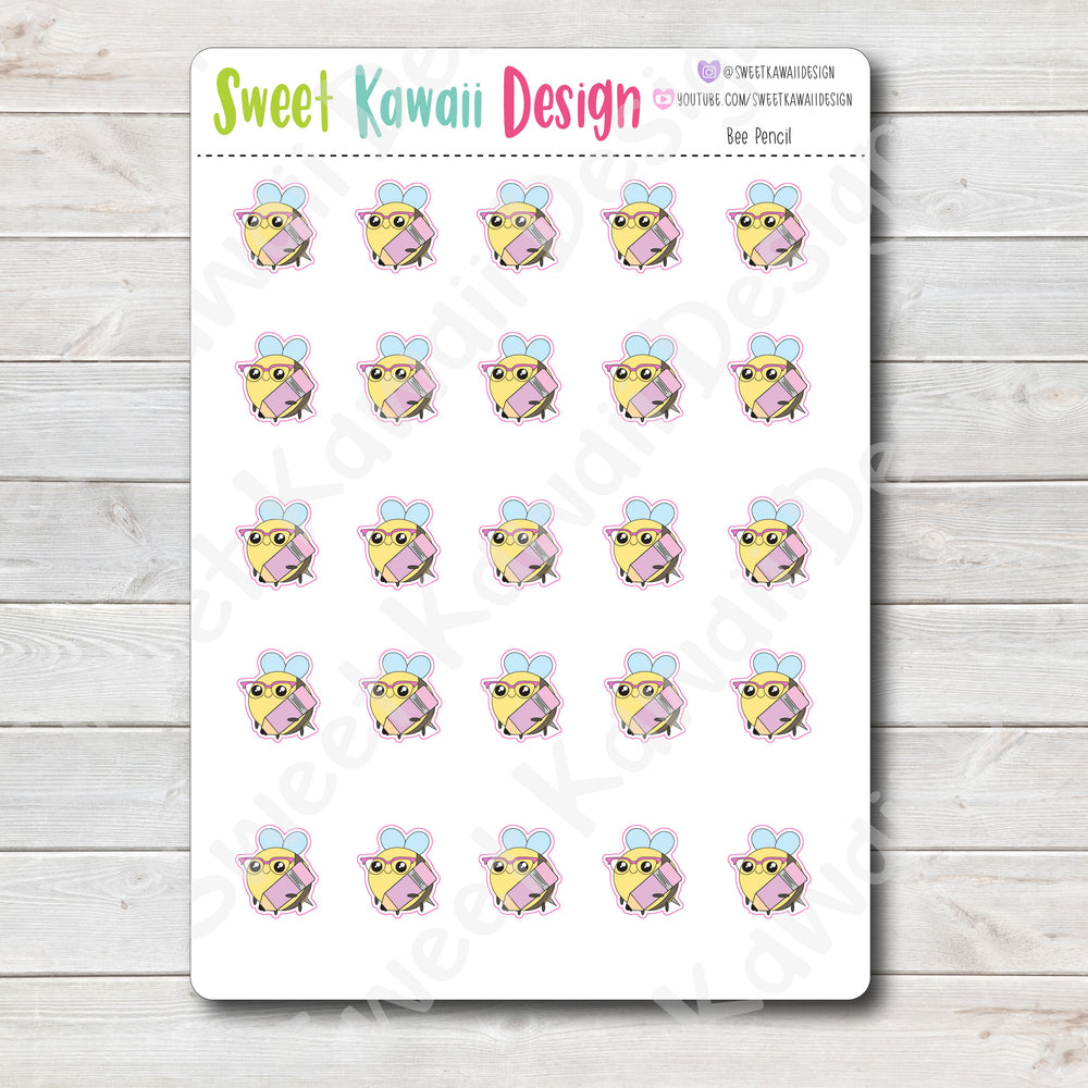 Kawaii Bee Stickers - Pencil