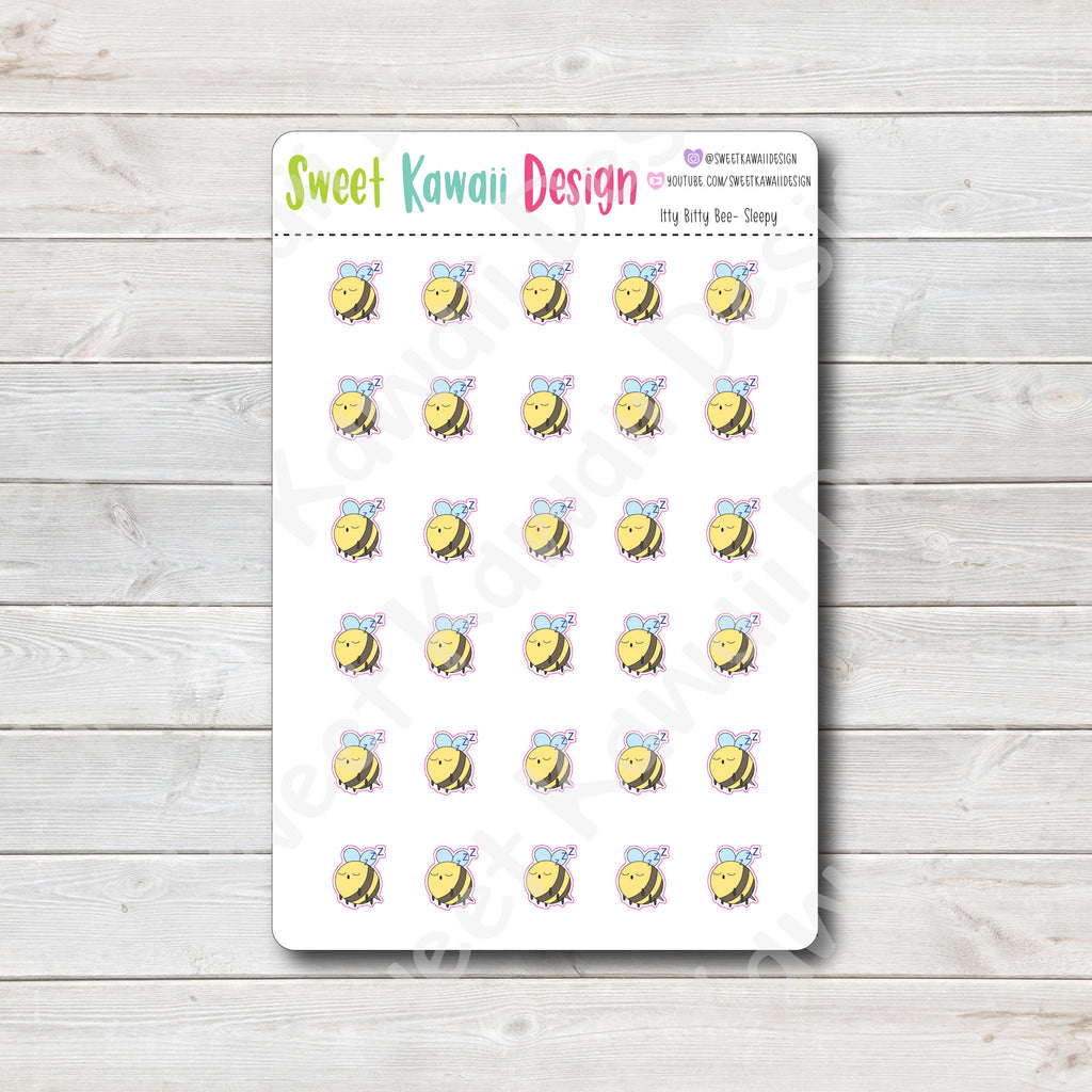 Kawaii Bee Stickers - Sleepy