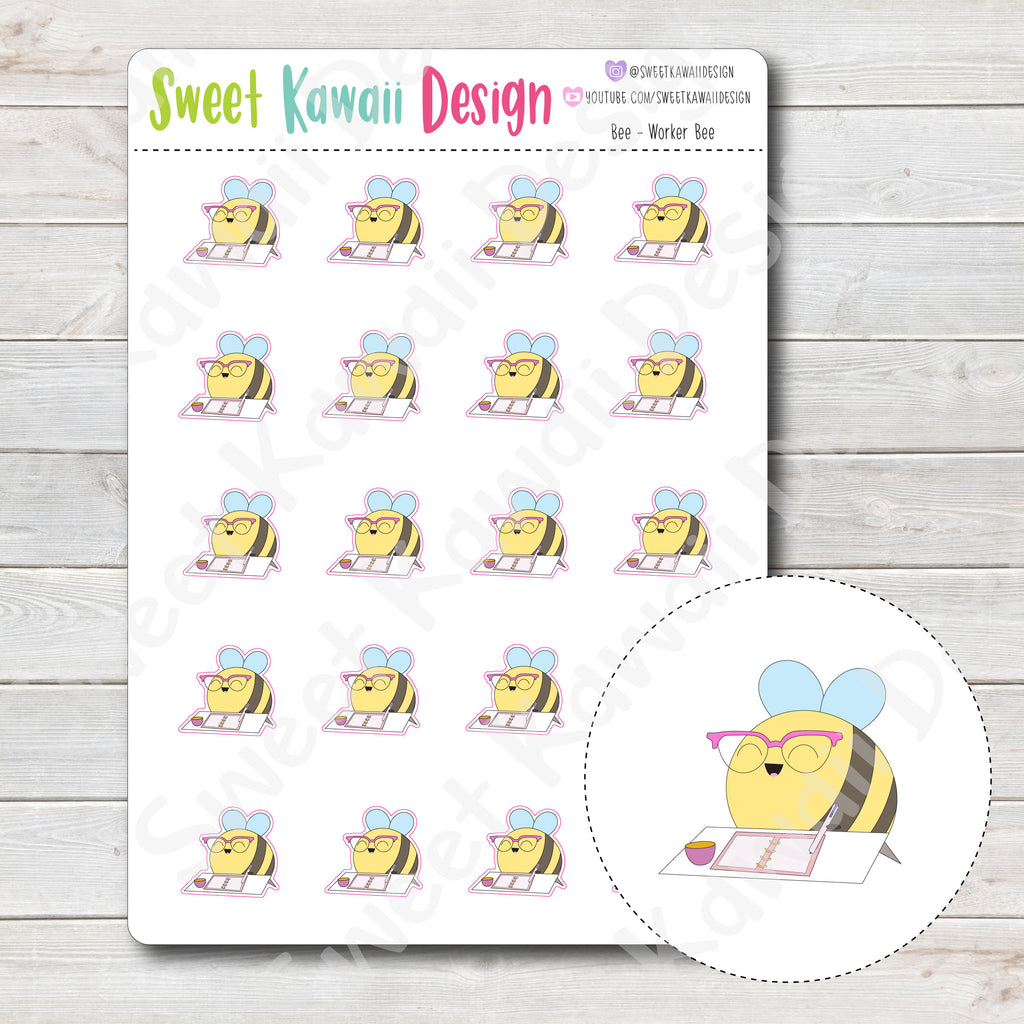 Kawaii Bee Stickers - Worker Bee
