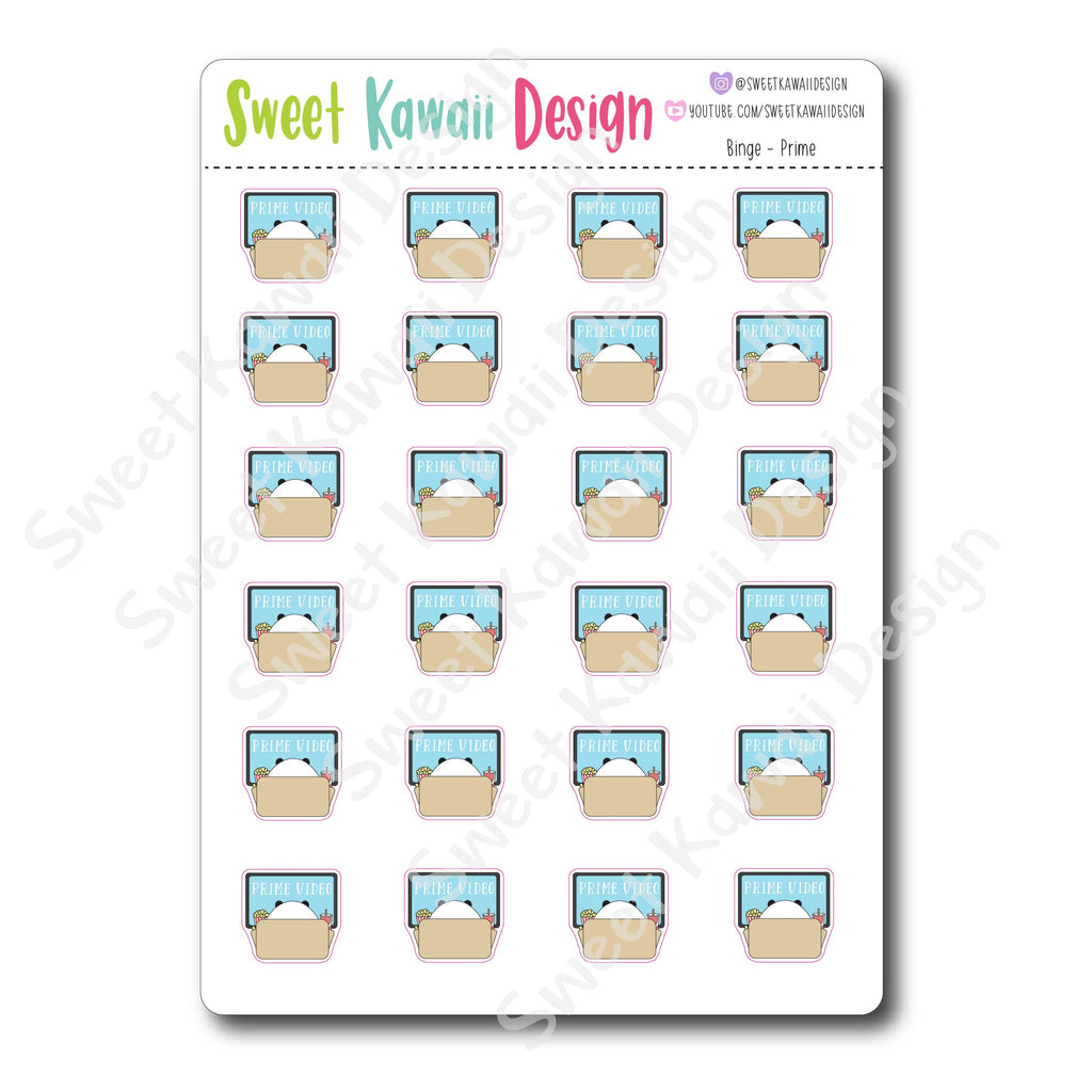 Kawaii Binge Watching Stickers - OPTIONS AVAILABLE