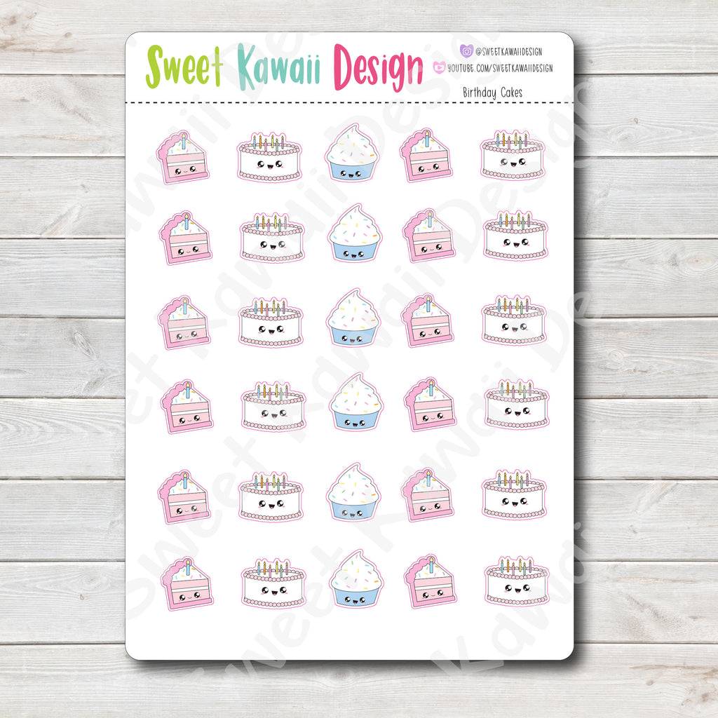Kawaii Birthday Cake Stickers