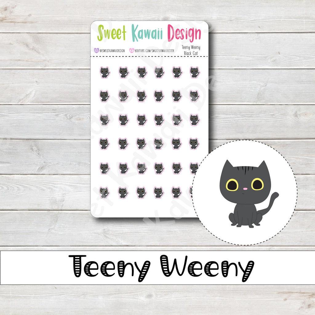 Teeny Weeny Black Cat Stickers
