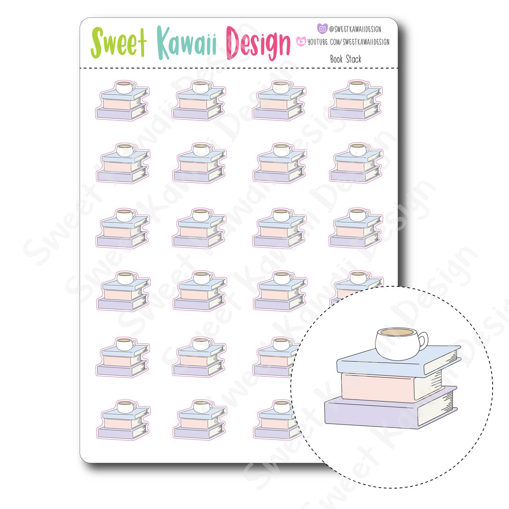 Kawaii Book Stack Stickers
