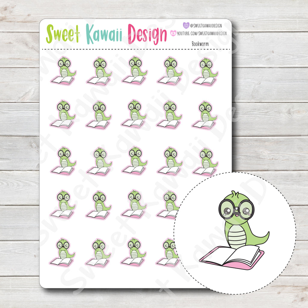 Kawaii Bookworm Stickers
