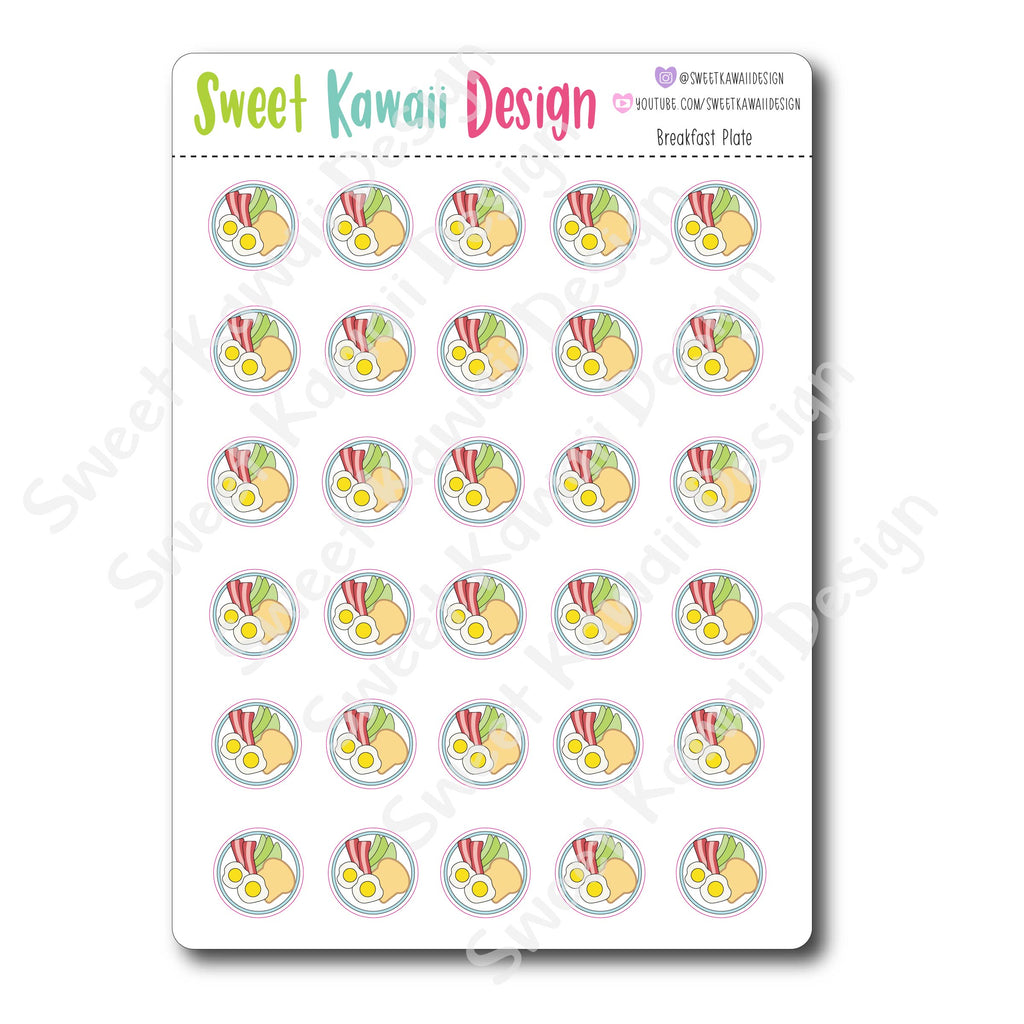 Kawaii Breakfast Plate Stickers