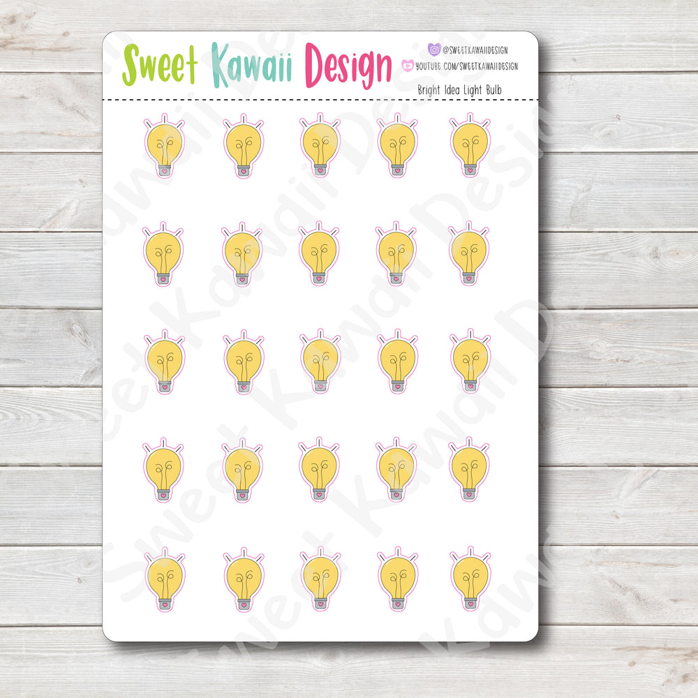 Kawaii Bright Idea Light Bulb Stickers