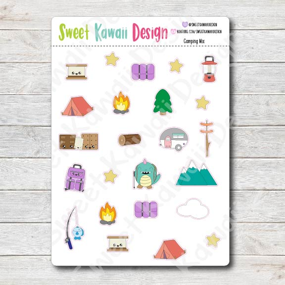 Kawaii Camping Stickers - Mix