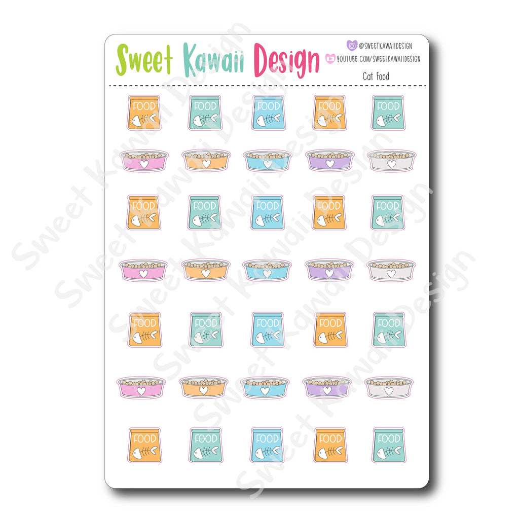 Kawaii Cat Food Stickers