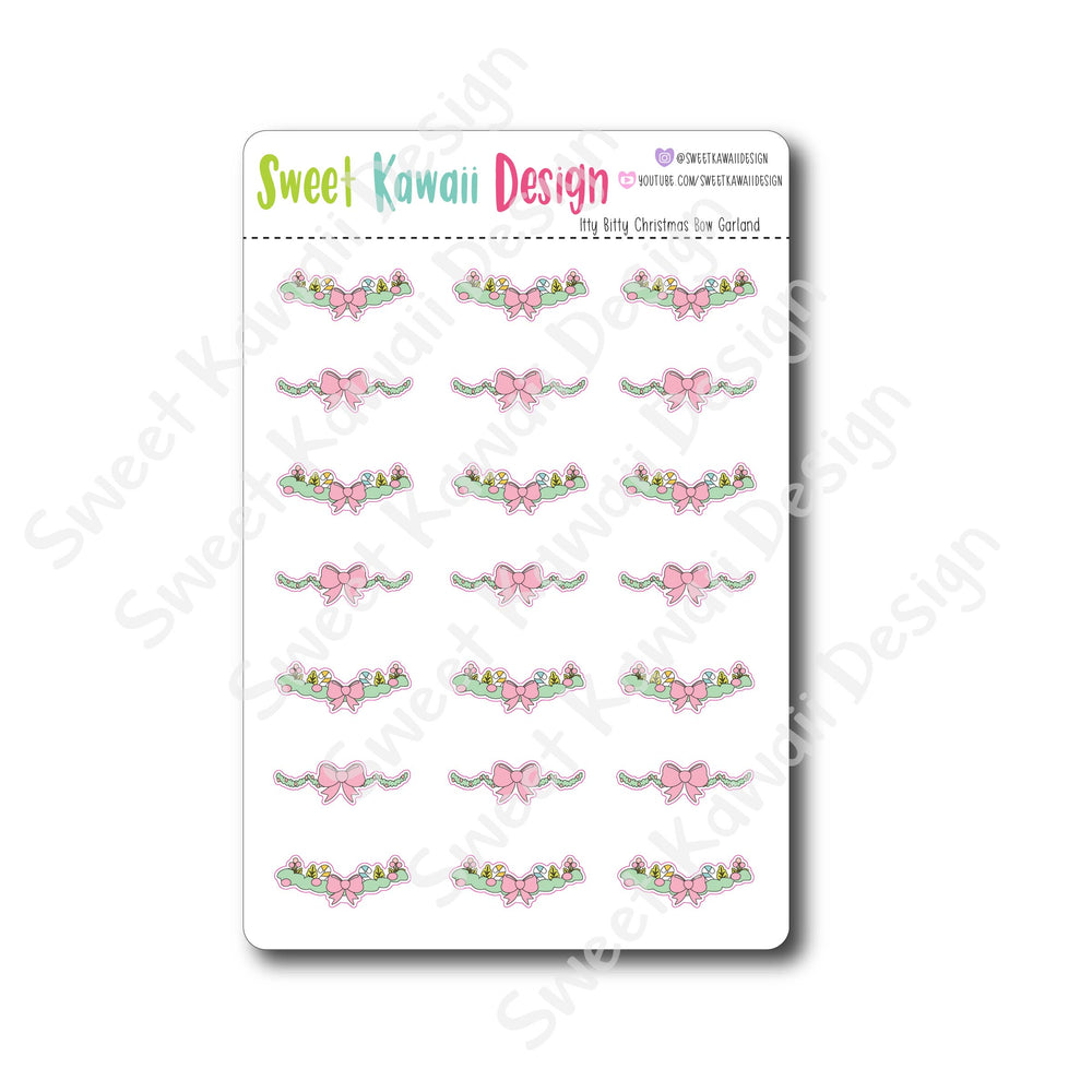Kawaii Christmas Bow Garland Stickers