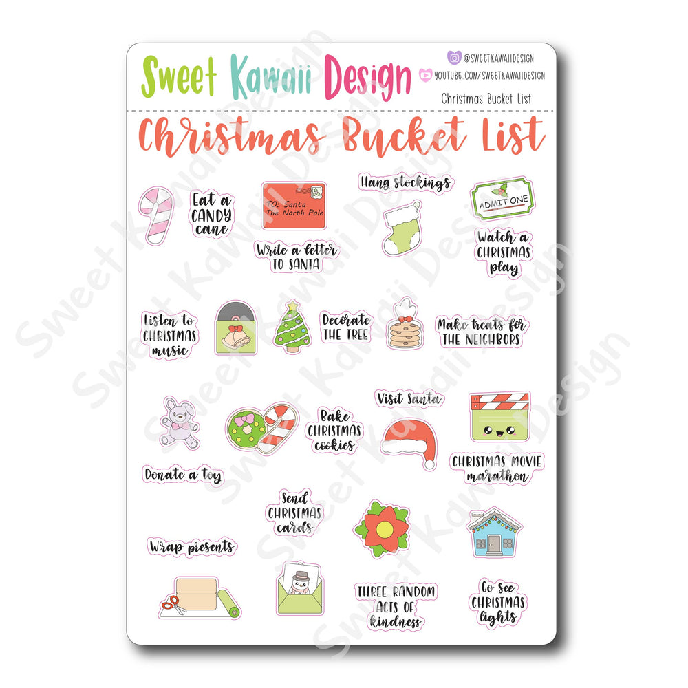 Kawaii Christmas Bucket List Stickers
