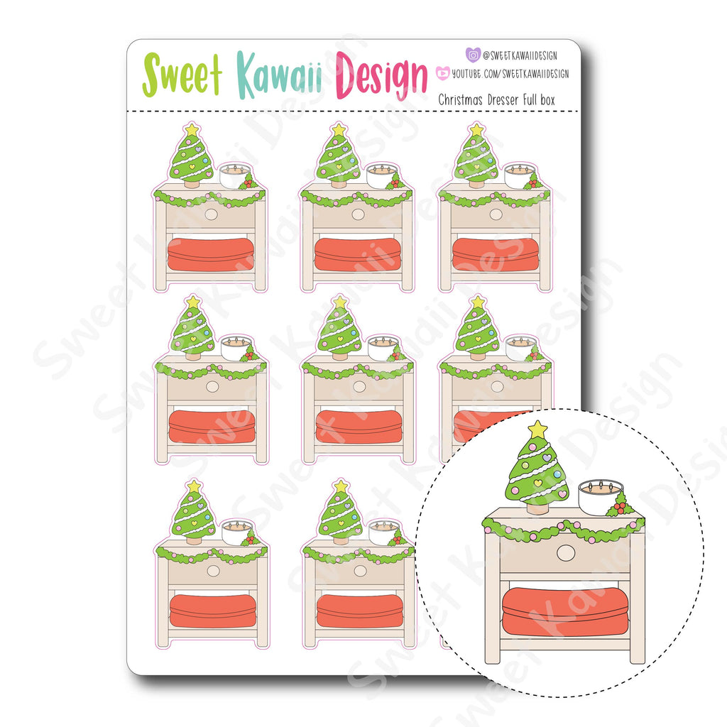 Kawaii Christmas Dresser Stickers