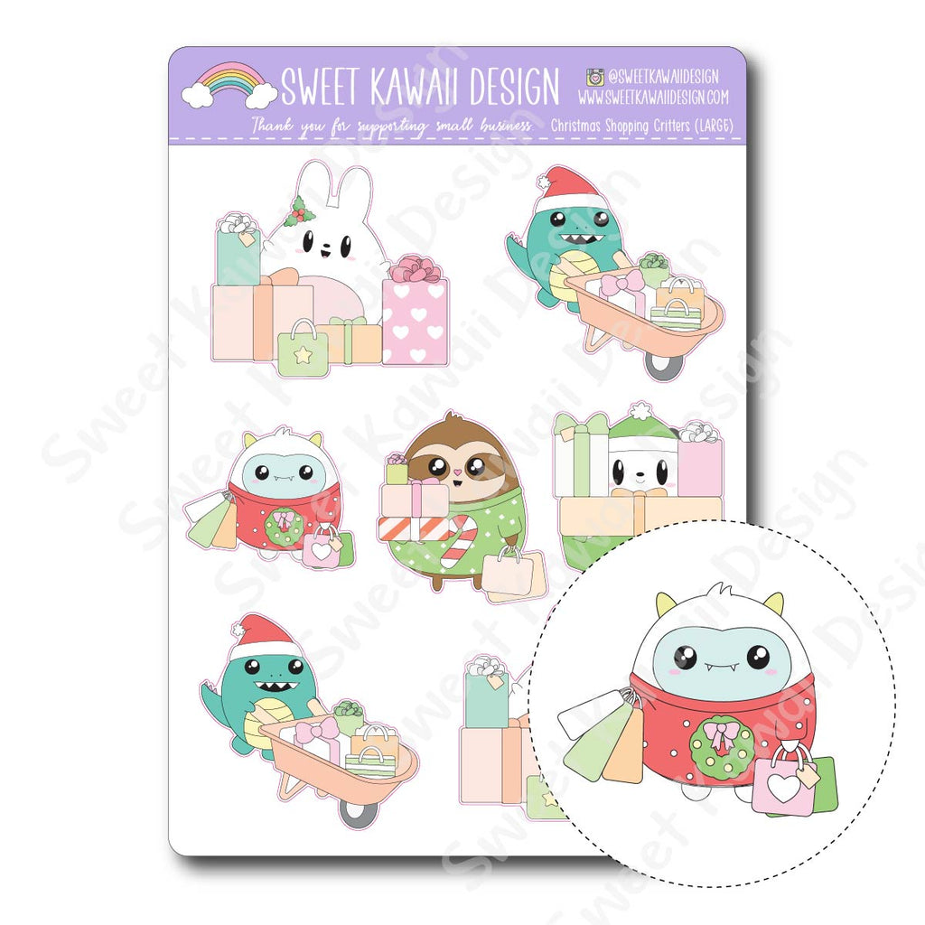 Kawaii Christmas Shopping Critters Deco (Large) Stickers