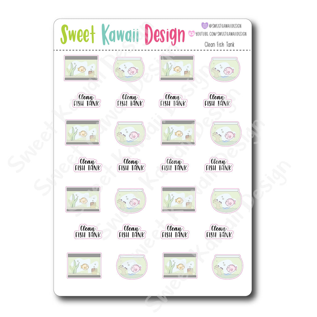 Kawaii Clean Fish Tank Stickers