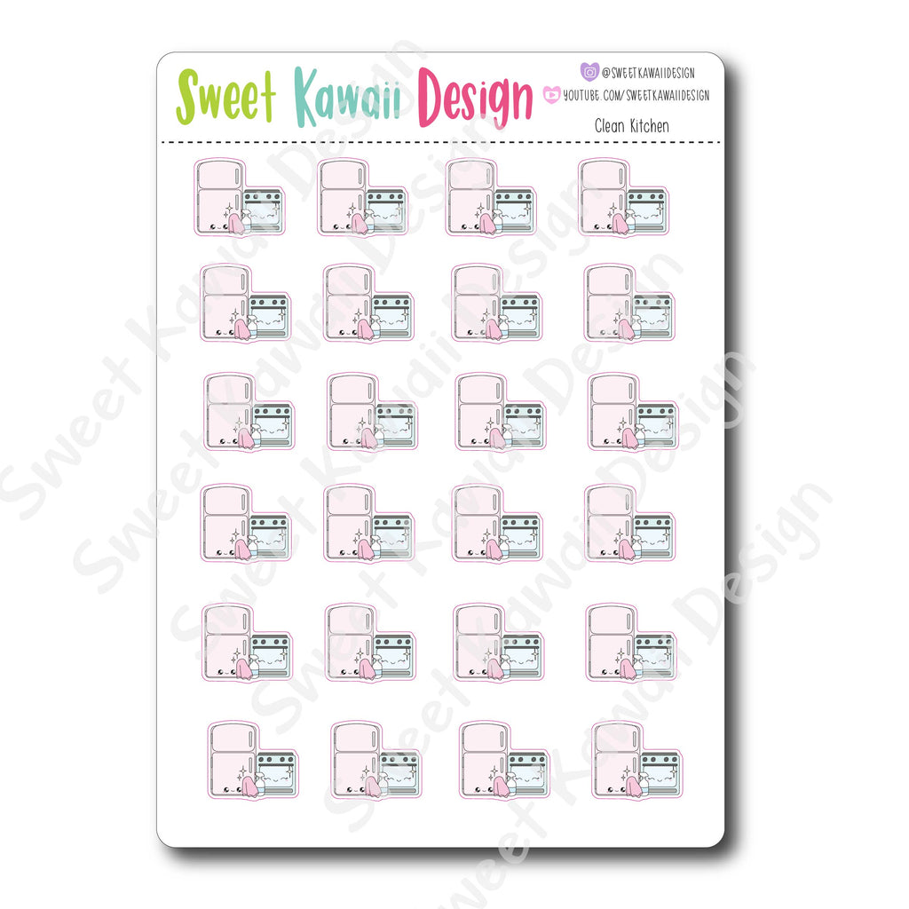 Kawaii Clean Kitchen Stickers