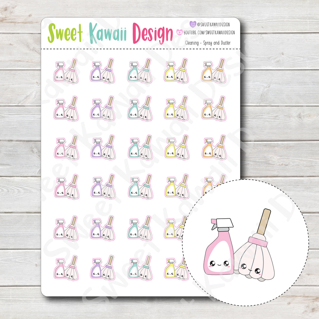 Kawaii Cleaning Stickers - Spray and Duster