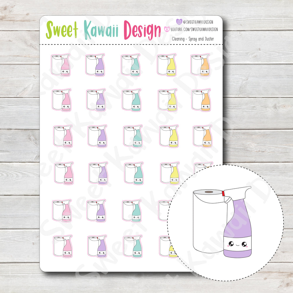 Kawaii Cleaning Stickers - Towel and Spray