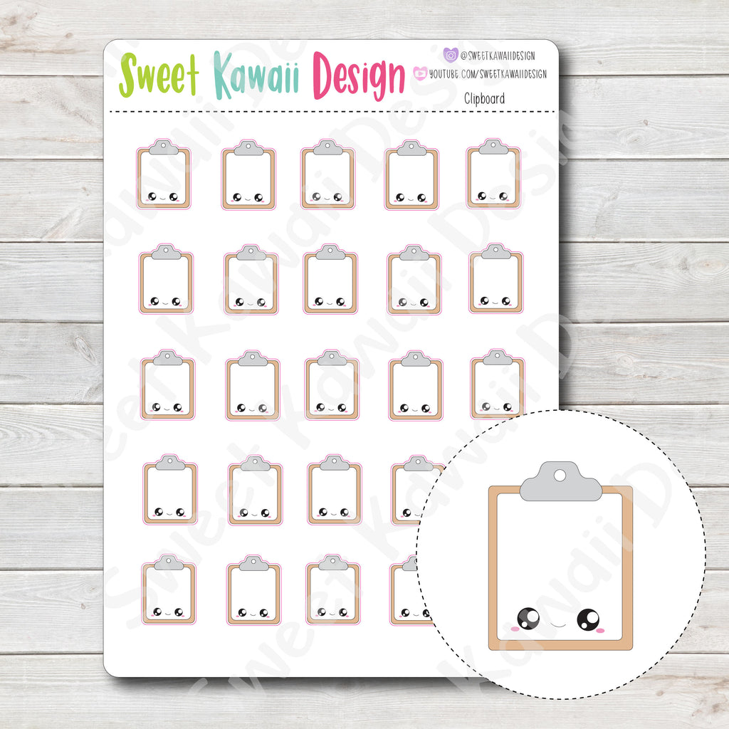 Kawaii Clipboard Stickers