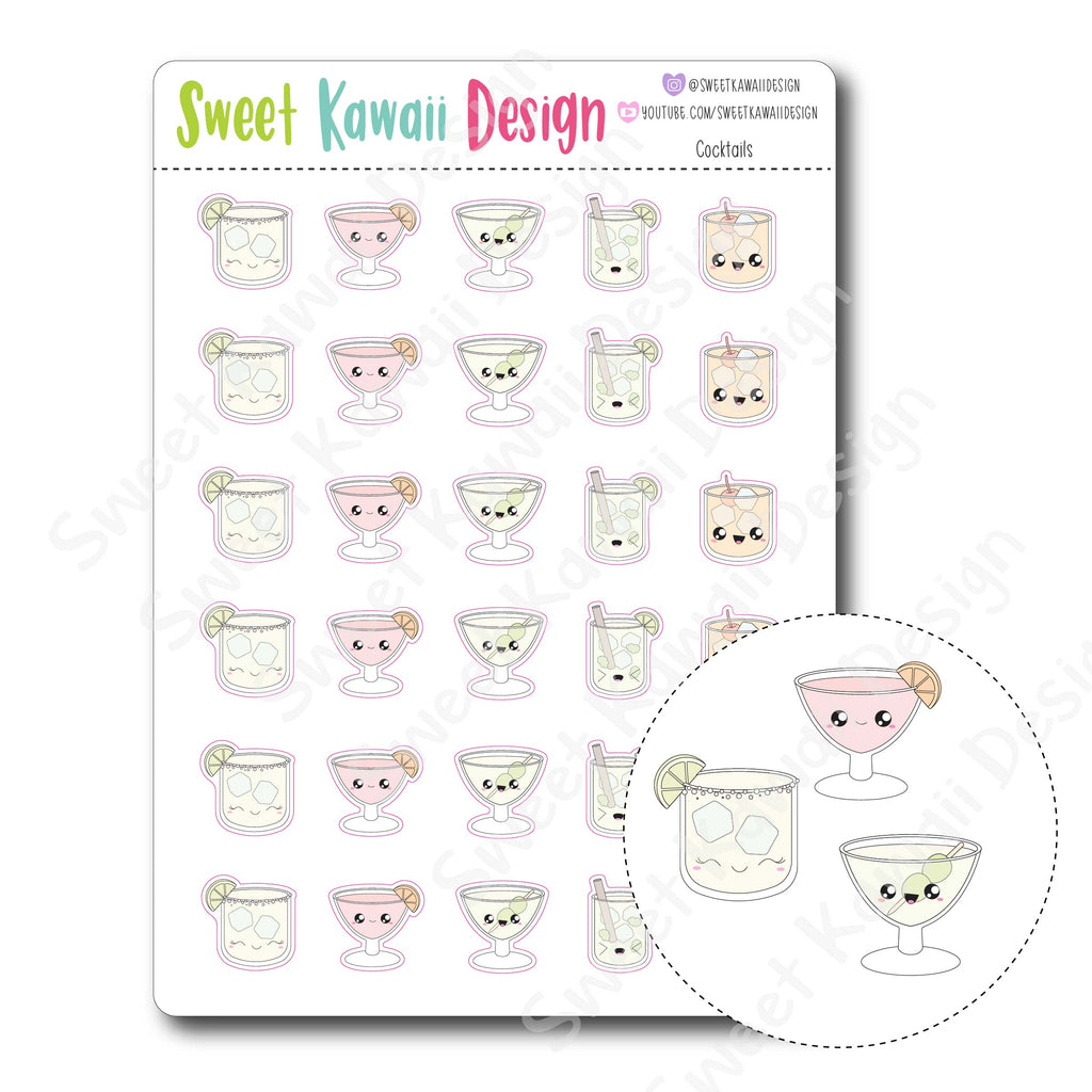 Kawaii Cocktail Stickers